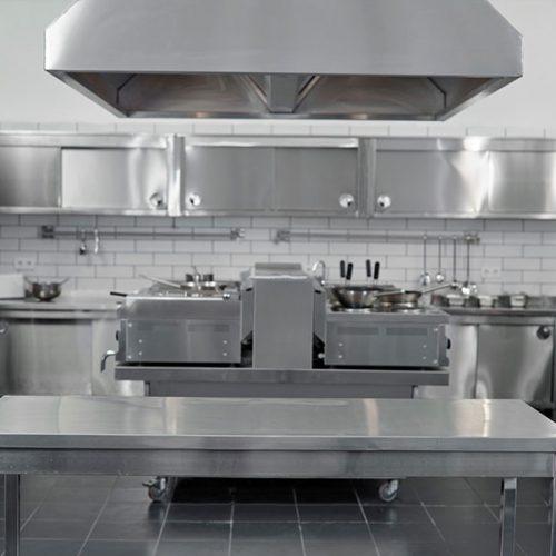 Steel commercial kitchen.